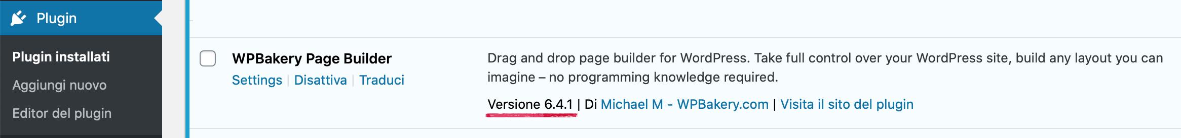 6.4.1 - Versione WP Bakery aggiornata